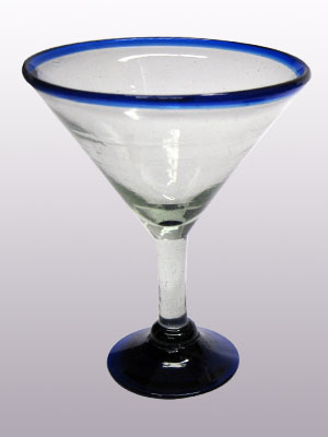 Wholesale MEXICAN GLASSWARE / 'Cobalt Blue Rim' martini glasses  / This wonderful set of martini glasses will bring a classic, mexican touch to your parties.